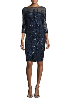 David Meister 3/4-Sleeve Embellished Sheath Dress  Navy