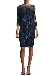 David Meister 3/4-Sleeve Embellished Sheath Dress  Navy