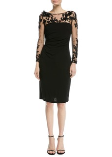 David Meister 3D Tattoo-Illusion Long-Sleeve Dress
