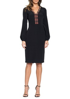 David Meister Beaded Blouson Sleeve Cocktail Dress