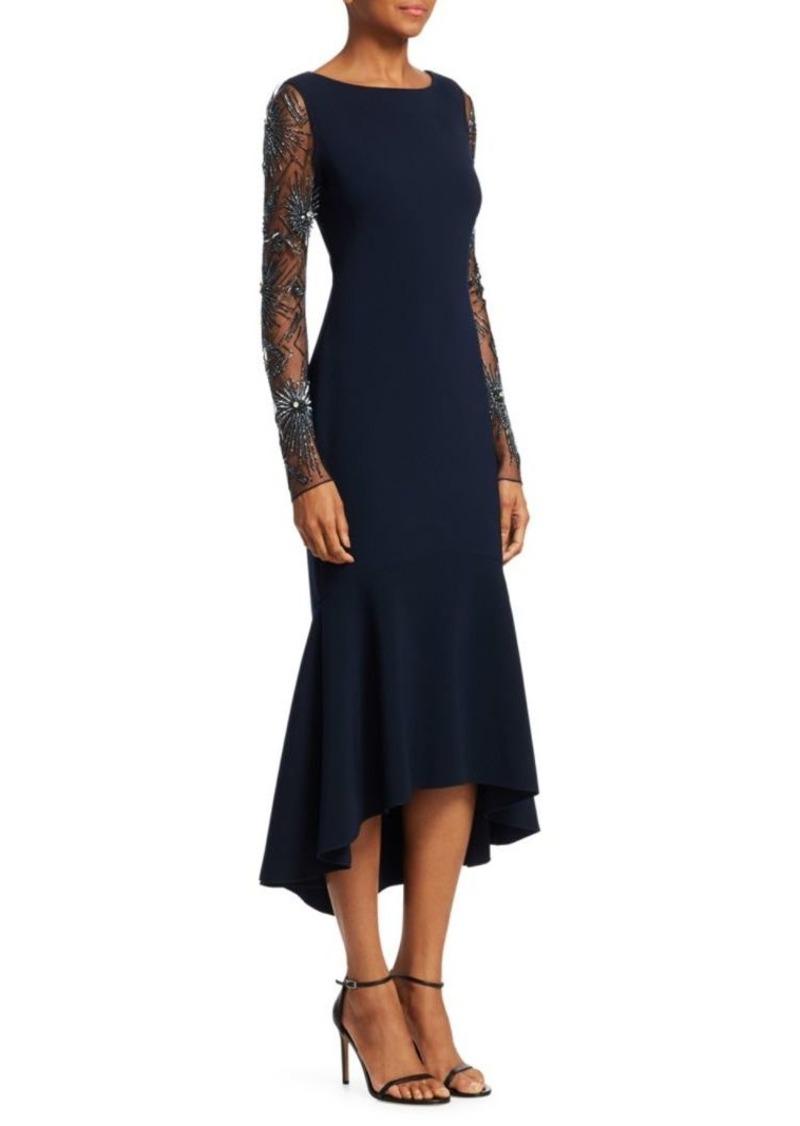 Theia Beaded Flounce Hem Midi Dress