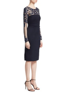 David Meister Beaded Illusion Sheath Dress