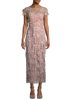 David Meister Cap-Sleeve 3-D Floral & Tassels Embroidered Long Formal Dress
