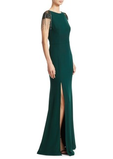 David Meister Cap Sleeve High-Slit Gown