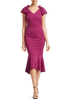 David Meister Cap Sleeve Midi Dress