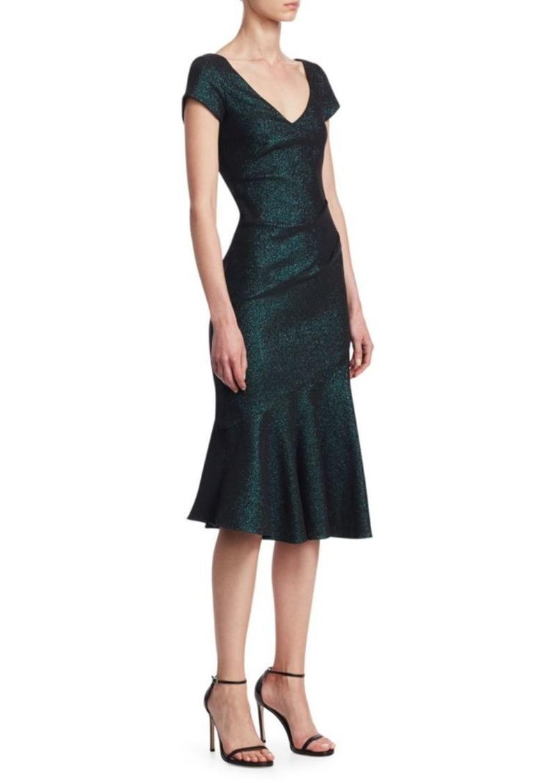 Theia Cap Sleeve V-Neck Flounce Dress