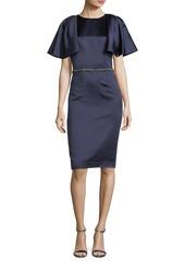 David Meister Capelet Short-Sleeve Jewel-Waist Dress