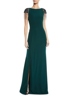 David Meister Crepe Gown w/ Beaded Shoulders