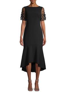 Theia Crepe High-Low Dress