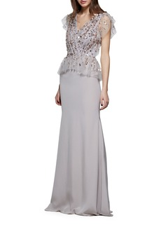 David Meister Crepe V-Neck Gown w/ Beaded Bodice