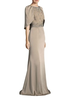 Cropped Cape Gown