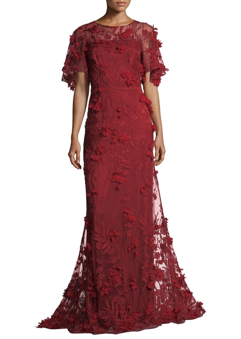 David Meister David Meister 3-D Floral Short-Sleeve Evening Gown Now ...