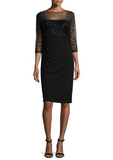 David Meister 3/4-Sleeve Beaded-Bodice Ruched Sheath Dress