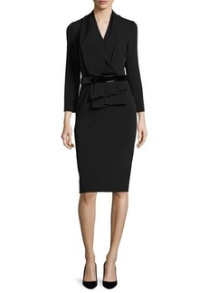 David Meister 3/4-Sleeve Belted Stretch Crepe Sheath Dress