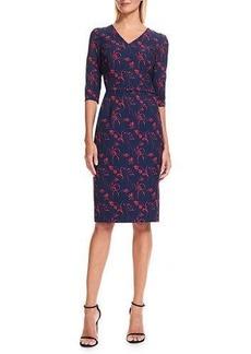 David Meister 3/4 Sleeve Floral-Print Sheath Dress