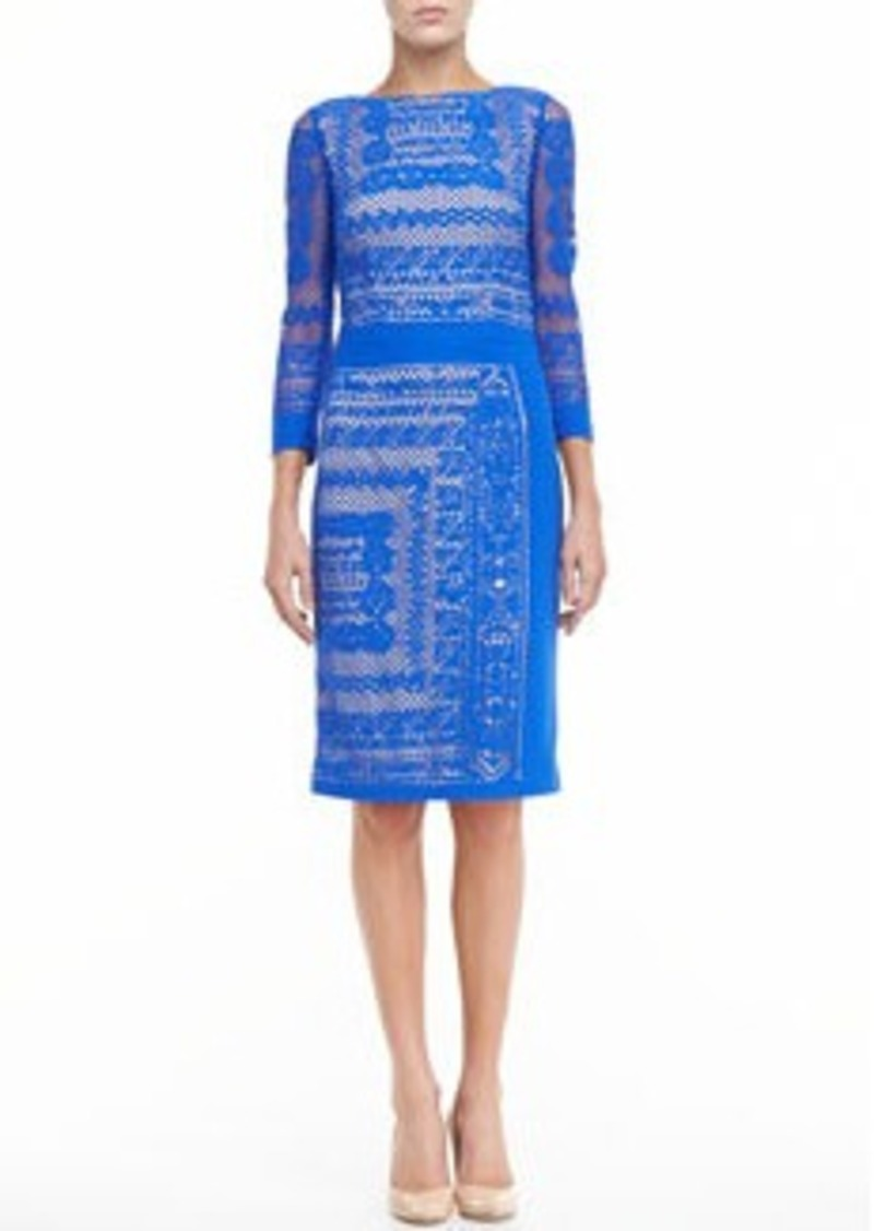 David Meister 3/4-Sleeve Lace Dress