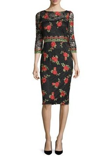 David Meister 3/4-Sleeve Rose-Embroidered Dress