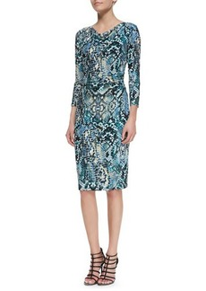 David Meister 3/4-Sleeve Snake-Print Sheath Dress