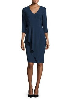 David Meister 3/4-Sleeve V-Neck Sheath Dress