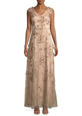 David Meister 3D Floral Embroidered Gown