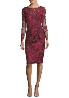 David Meister 3D Floral Long-Sleeve Illusion Cocktail Dress