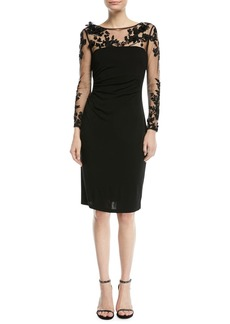 David Meister RAYON DRESS W/EMBRDRD MESH