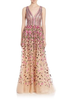 David Meister A-Line Embroidered Gown