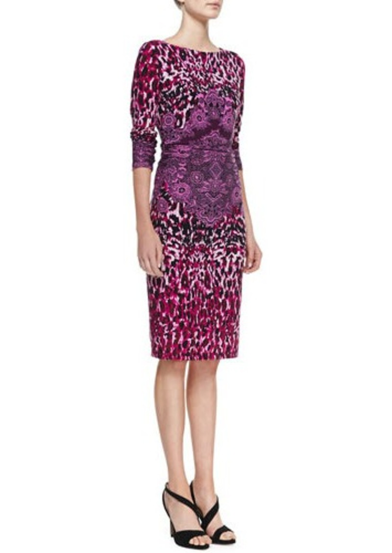 David Meister Animal-Print Crochet-Detail Long-Sleeve Jersey Dress