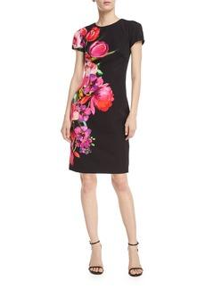 David Meister Asymmetric Floral Short-Sleeve Sheath Dress
