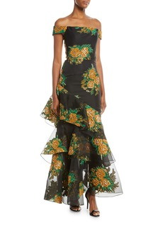 David Meister Asymmetric Tiered Floral Off-the-Shoulder Dress