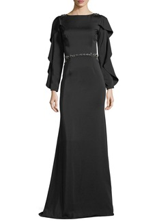David Meister Bateau-Neck Slit-Sleeve Illusion-Back Evening Gown