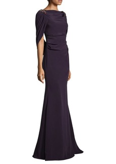 David Meister Beaded Cape Gown