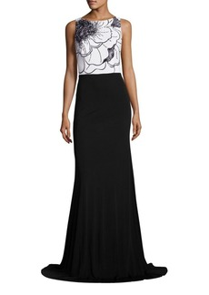 David Meister Beaded Colorblock Gown