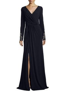 David Meister Beaded-Cuff Surplice Jersey Gown