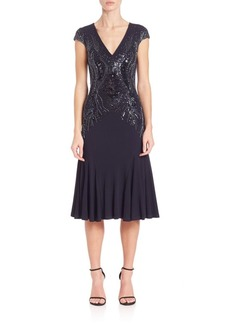 David Meister Beaded-Detail Jersey Cocktail Dress