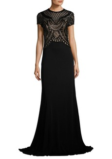 David Meister Beaded Jersey Gown