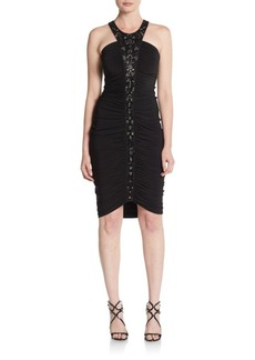 David Meister Beaded Jersey Cocktail Dress