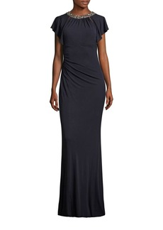 David Meister Beaded Ruched Jersey Gown