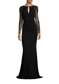 David Meister Beaded Sheer-Sleeve Gown