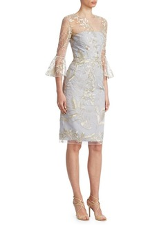 David Meister Bell Sleeve Embroidered Cocktail Dress