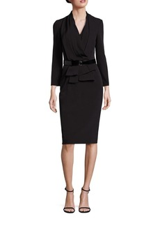 David Meister Belted Drape-Front Sheath Dress
