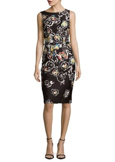 David Meister Belted Floral Sheath Dress