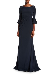 David Meister Boat-Neck Jeweled-Shoulder Ruched Crepe Evening Gown