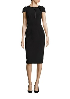 David Meister Bow Cap-Sleeve Sheath Dress