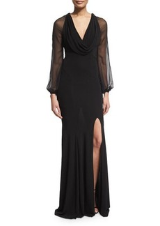 David Meister Cap-Sleeve Beaded-Front Godet Gown