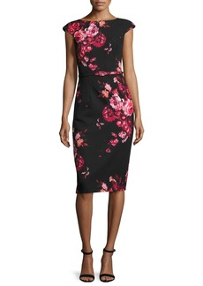 David Meister Cap-Sleeve Belted Floral Sheath Dress
