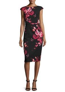 David Meister Cap-Sleeve Belted Floral Sheath Dress