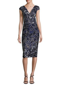 David Meister Cap-Sleeve Embroidered Sheath Dress