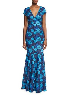 David Meister Cap-Sleeve Floral Lace Gown