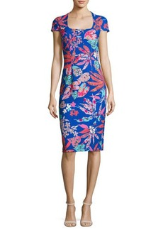 David Meister Cap-Sleeve Floral Ponte Sheath Dress